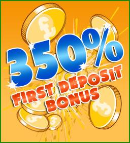350% First deposit bonus